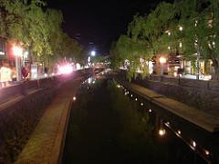 夜の城崎温泉街